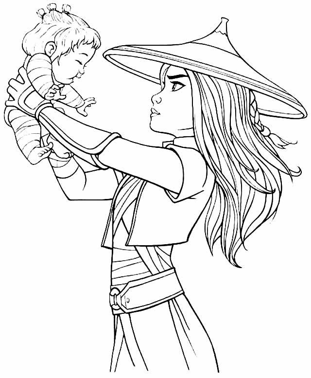 Desenho de Raya e o Último Dragão para pintar