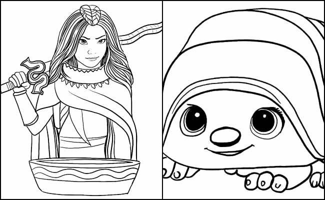 Desenhos lindos de Raya e o Último Dragão - Tuk Tuk e outros personagens