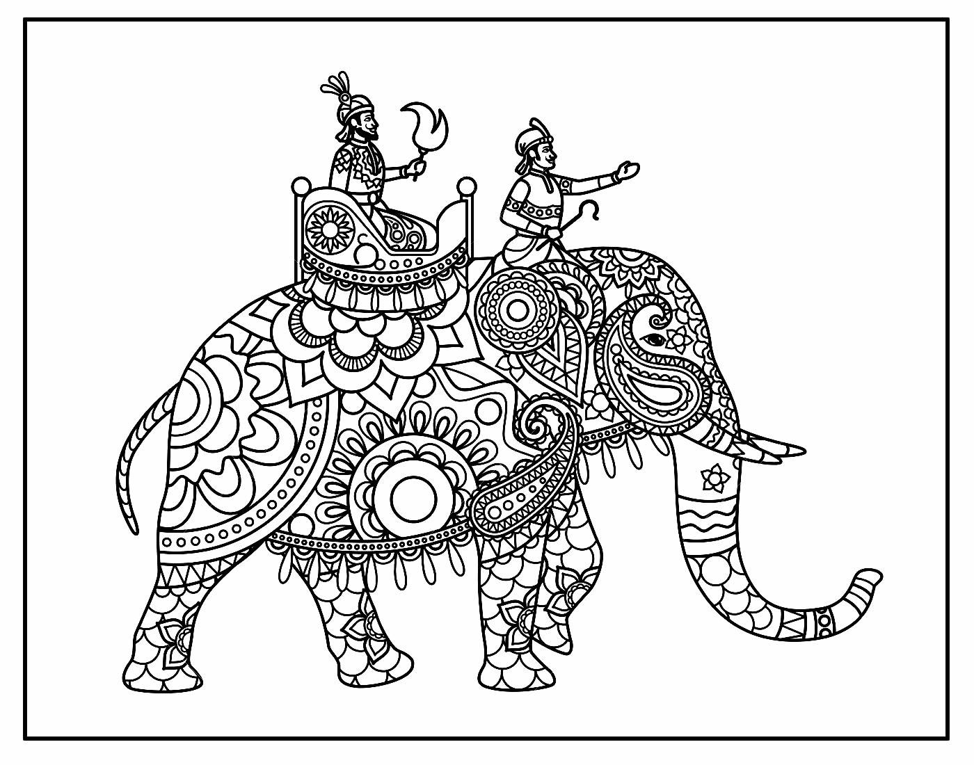 Desenho de Elefante Indiano