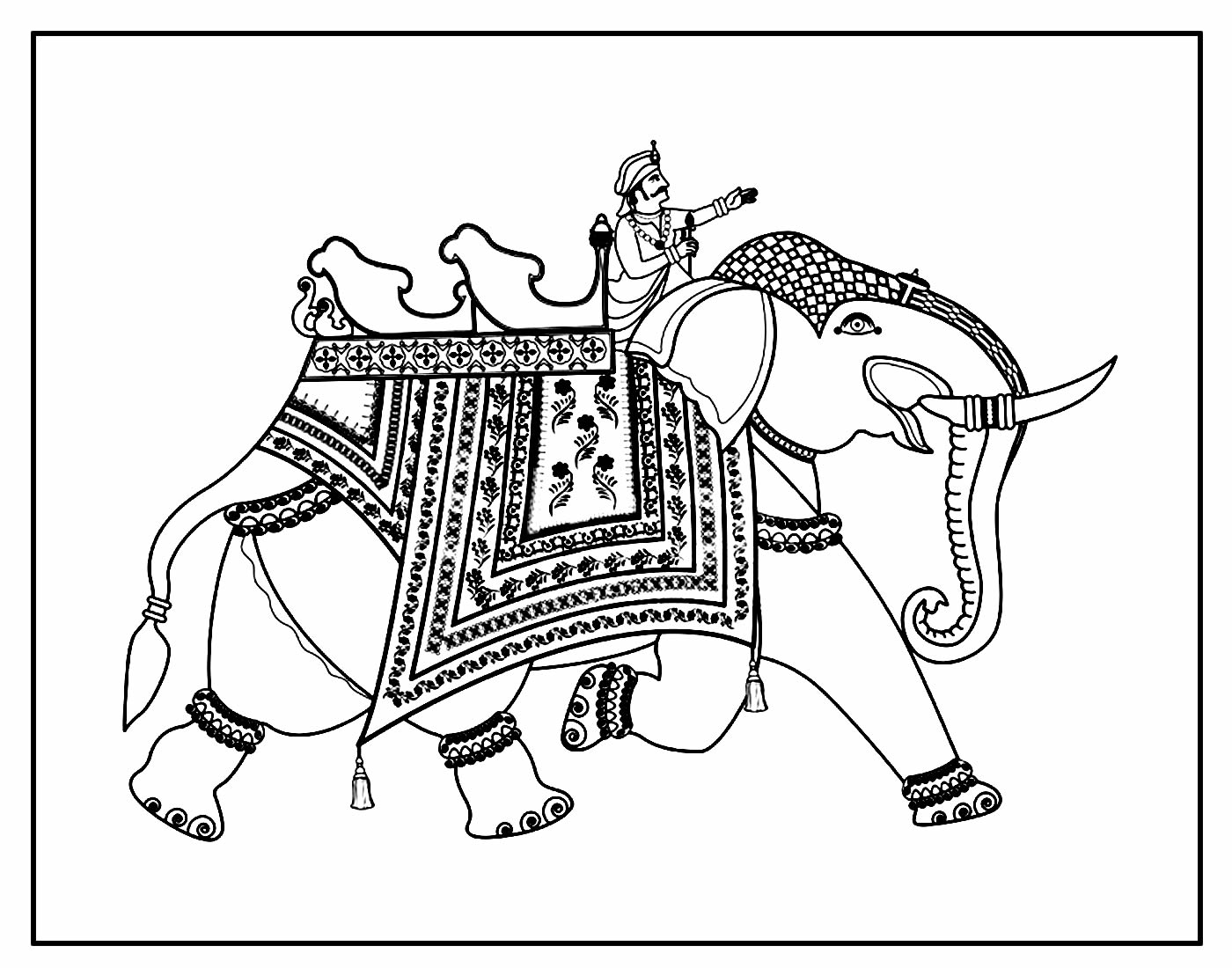 Desenho para colorir de Elefante Indiano