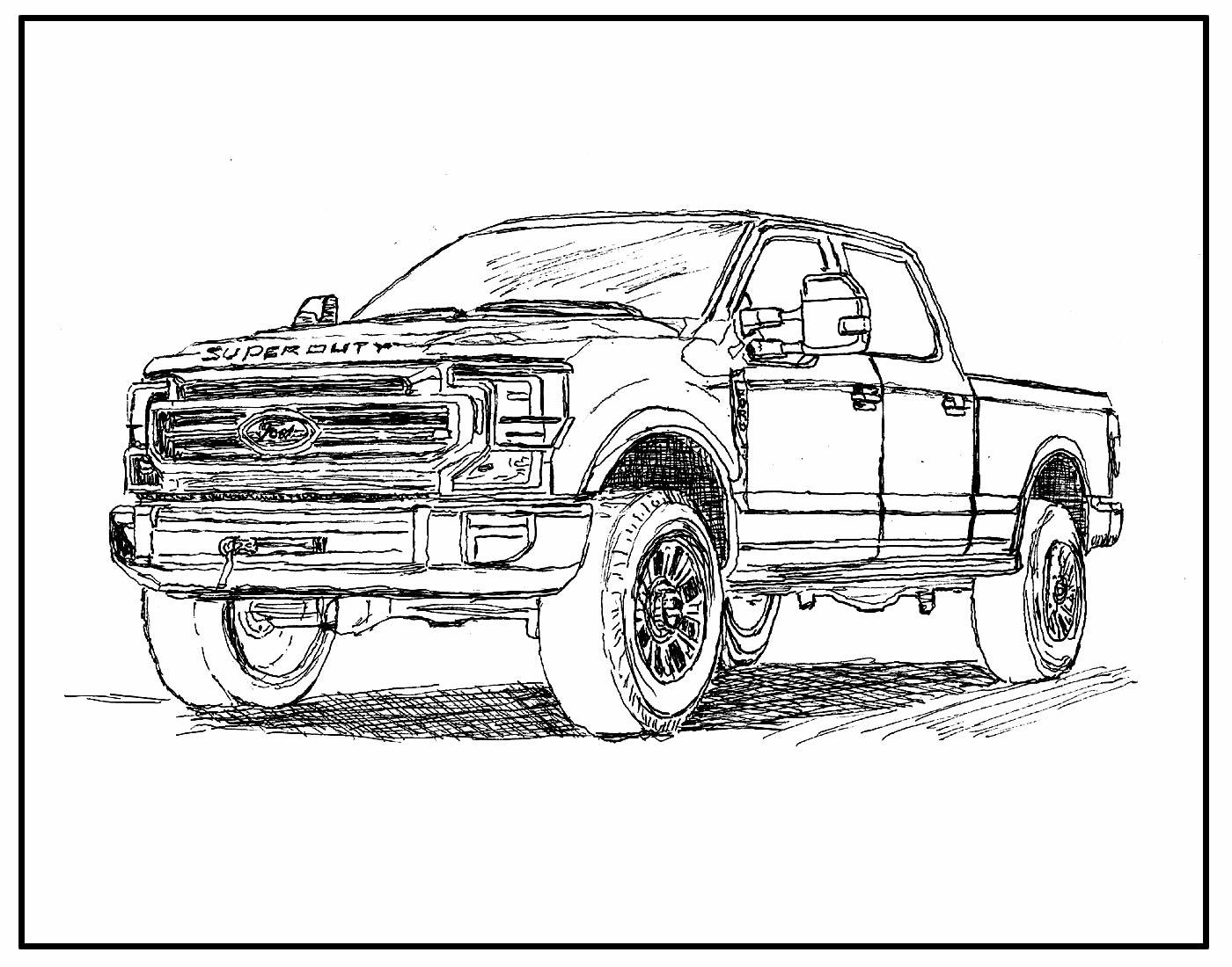 Desenho para pintar Caminhão - Picape