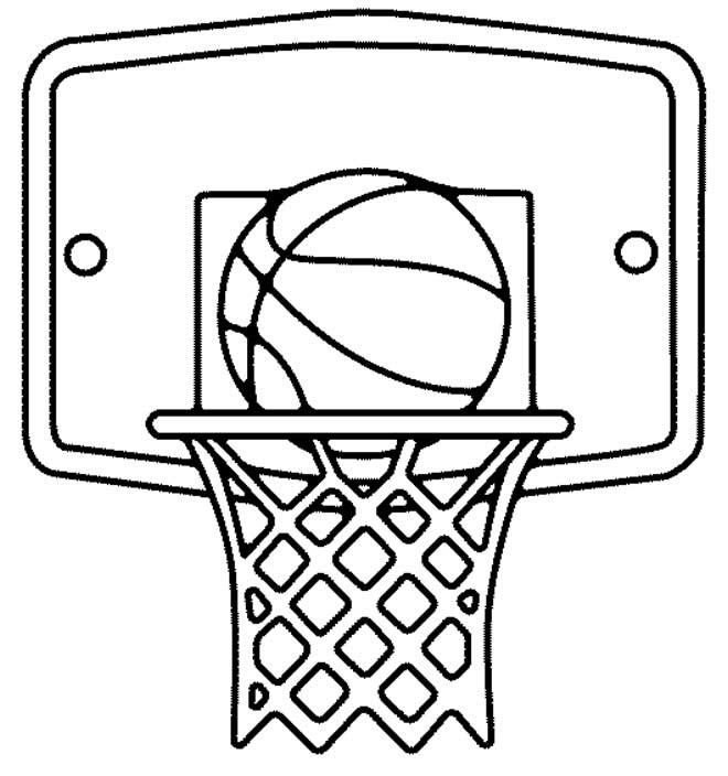 Desenho de cesta de basquete para pintar