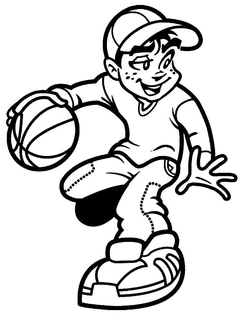 Desenho de jogador de basquete para colorir