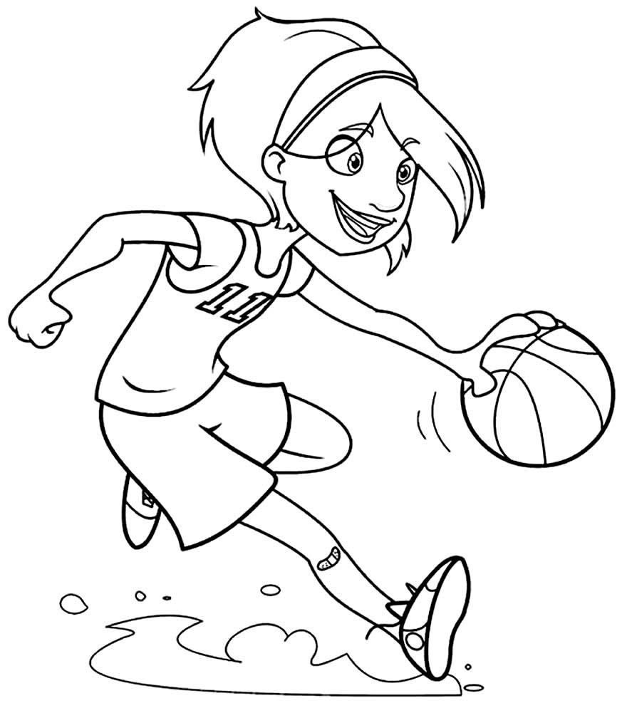 Desenho de jogadora de basquete para pintar
