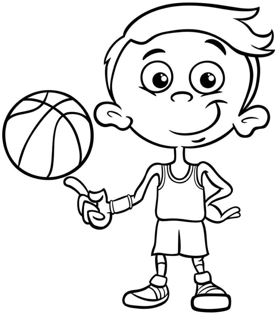 Desenho de jogador de basquete para pintar
