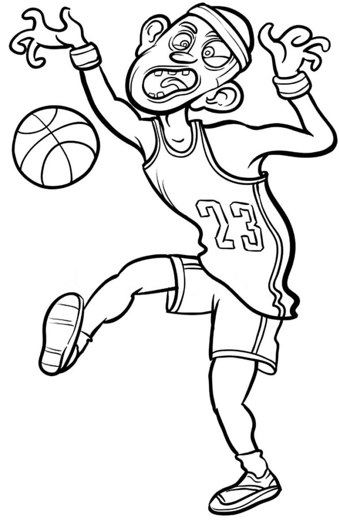 Desenho divertido de basquete para pintar