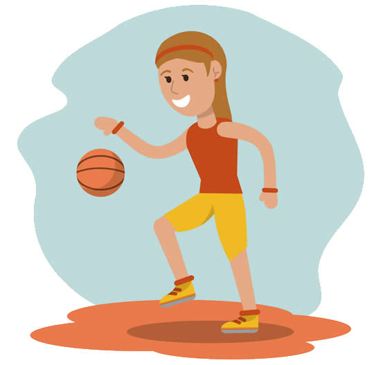 Desenho de jogadora de basquete