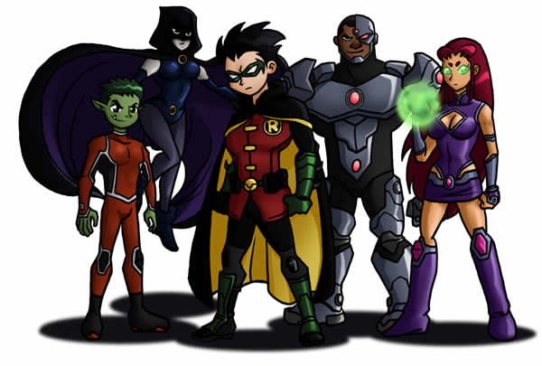 Desenho dos Jovens Titans