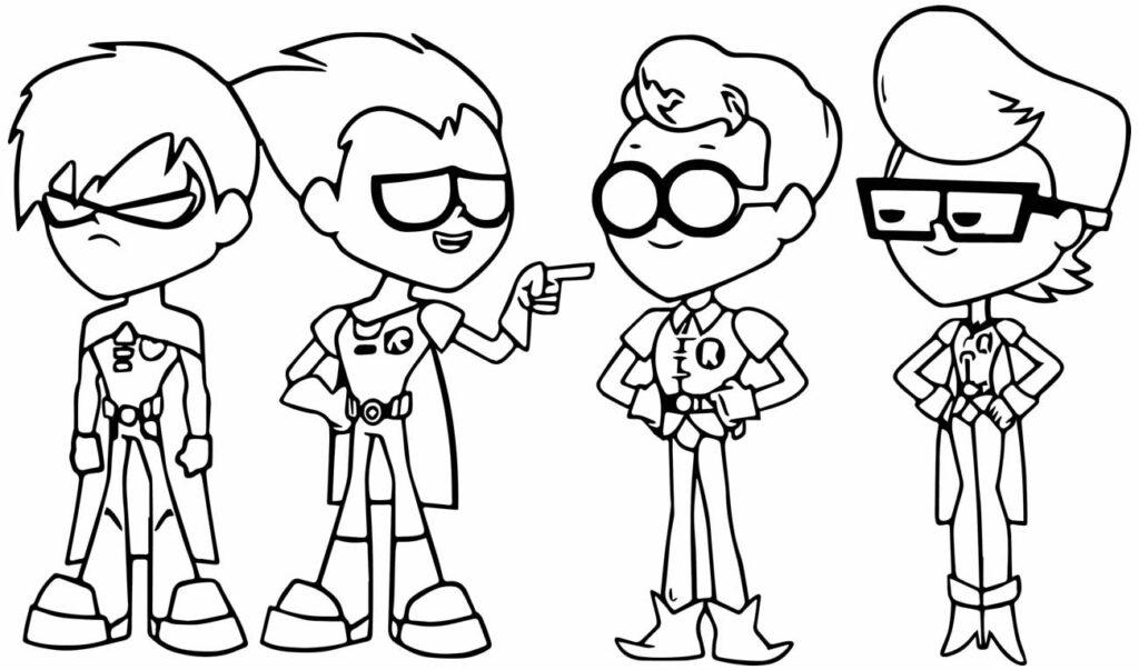 Desenho dos Jovens Titans para pintar